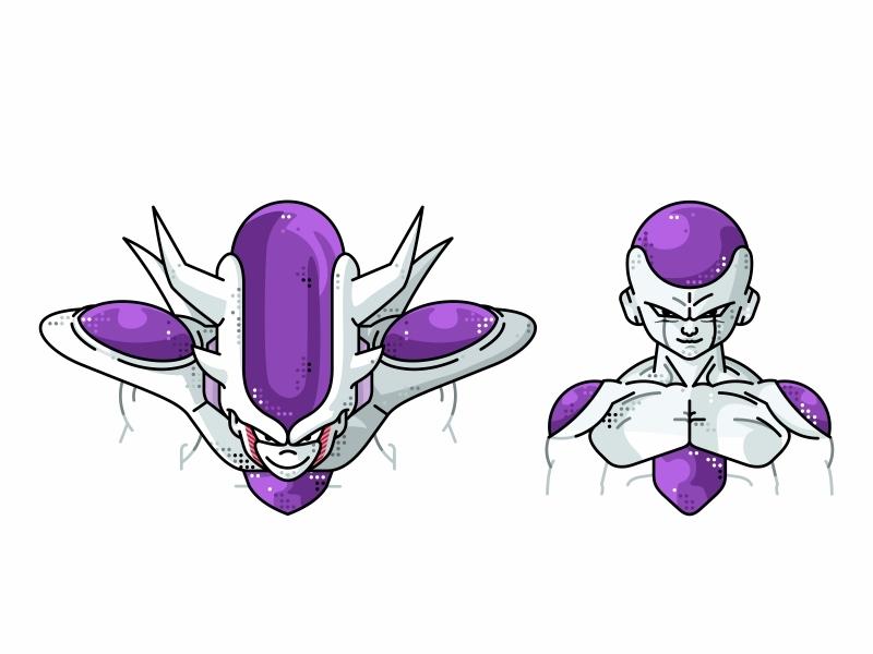 Frieza Full Power & Third Form vector fighter super saiyan piccolo master roshi line illustration icon goku frieza flat dragonball design dots design character avatar animation 2d