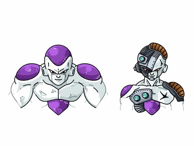Frieza 100% & Cyborg Form vector fighter super saiyan piccolo master roshi line illustration icon goku frieza flat dragonball design dots design character avatar animation 2d