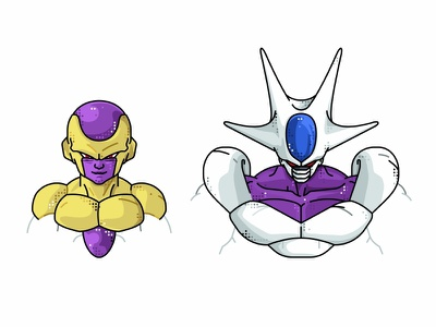 Frieza golden & Cooler form vector fighter super saiyan piccolo master roshi line illustration icon goku frieza flat dragonball design dots design character avatar animation 2d