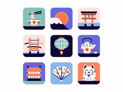 Japan Icon set tori tea sushi icon set samurai oriental noodle house tradition japanese japan illustration icons icon food design culture color chopstick art