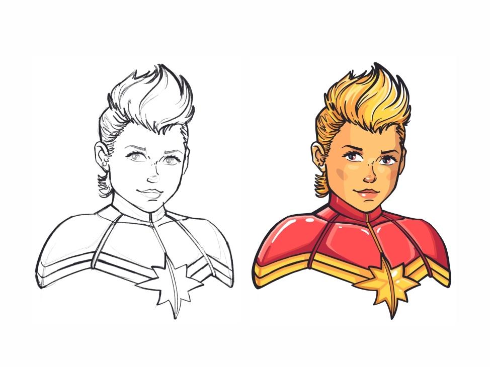 Captain Marvel 🌠 super hero super girl marvel comics hero marvel captain marvel woman style sign power mark logo girl female comics dc cute colorful design character
