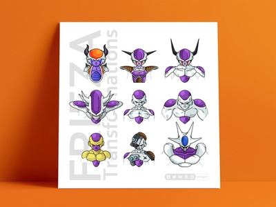 Frieza Stages poster vector piccolo master roshi line illustration icon goku poster print flat dragonball dots chilled frieza design character avatar animation 2d