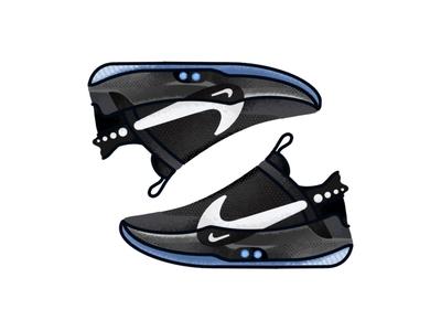 Nike S Self Lacing Adapt BB sneakers vector trainer style sport sneakers sneaker shoes nikes self-lacing adapt bb nike minimal lines kicks jordan illustration icon gradient footwear fashion design air jordan
