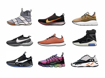 Snickers Set No.2 vans athletic vector trainer style sport sneakers sneaker shoes run nike minimal illustration icon gradient footwear fashion design brush adidas