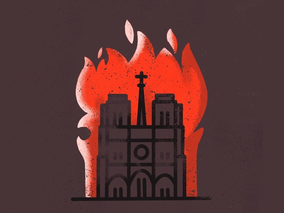 Rebuild Notre Dame 🔥 cultural damage catholic cathedral burning rebuild fire support save paris notre dame louvre landmark illustration icon europe eiffel city church building architecture