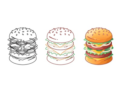 Hamburger Creation 🍔 illustration design line flat icon set icnography cheeseburger tomato stroke meat ingredients hamburger food fastfood fast cooking cheese burger bread