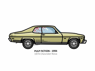 Pulp Fiction, 1994 Chevrolet Nova tarantino retro pulp fiction outline movie line illustration iconic future film famous dots design classic car blood automobile 1994 chevrolet nova