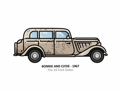 Bonnie and Clyde Car bank robbery gangsters ford sedan ford outline movie line illustration iconic future film famous dots design classic car blood automobile bonnie and clyde