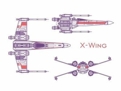 X-Wing x-wing x wing space outline fly fleet yoda stormtrooper star wars side view r2d2 icons force flat droid darth vader cute colorful space ship 2d