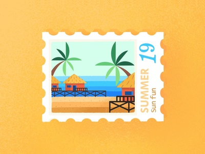 Summer Postmark draw sand relax texture gradient flat illustration holidays sunny day colorful cute fun soon see palms beach postmark summer postmark