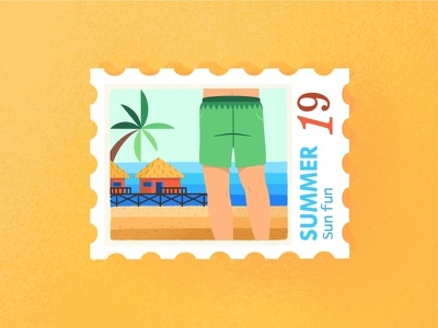 On the Beach Postmark texture sunny day character summer man on beach see sand relax postmark palms illustration holidays gradient fun flat draw cute colorful beach
