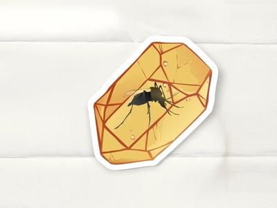 Mosquito in Amber patch enamel pin paper sticker vector mosquito logo illustration icon flat design dailylogochallenge branding badge amber 2d
