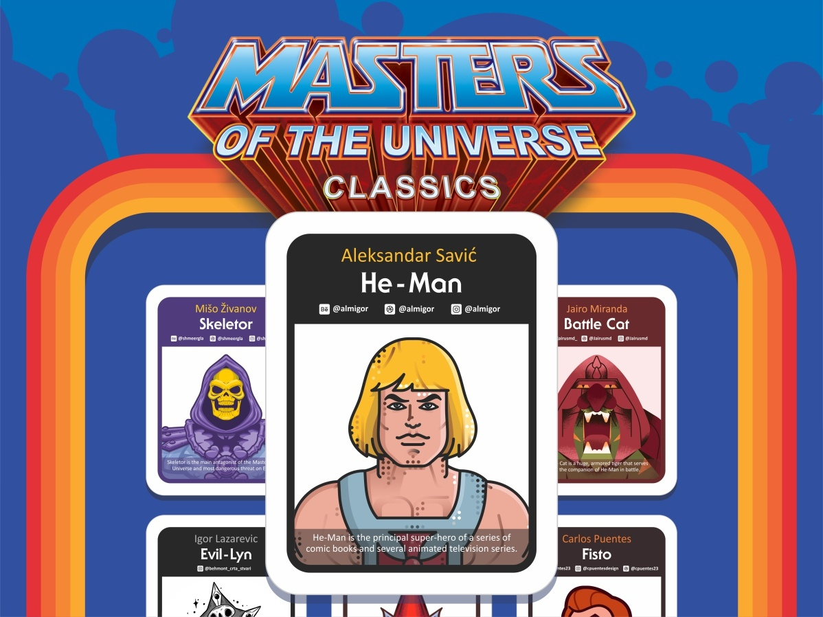 He Man Cards fans characters collaboration cards vintage typography type tiger throwback sword strong retro prowling powerful muscles masters of the universe i have the power he-man heman 1980s 80s 80s style