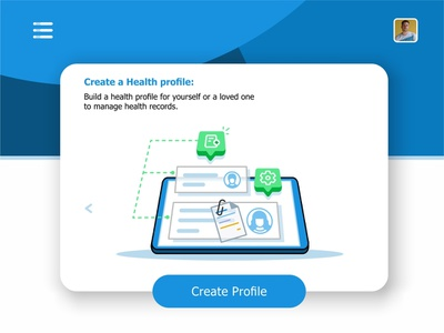 Create Profile settings user health records files create profile ui ux interface monitoring system monitor message medical laptop hospital health visualization data animation