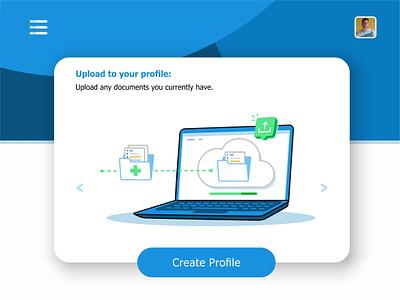 Upload upload phone visualization user ui ux settings monitor message medical laptop interface hospital health records health files data create profile animation