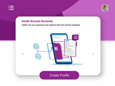 Records Received records visualization user ui ux settings monitoring system monitor message medical laptop interface hospital health records health files data create profile animation