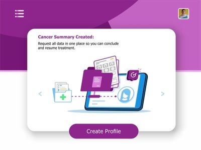Cancer Summary cancer phone visualization user ui ux settings monitoring system monitor message medical laptop hospital health records health files data create profile animation