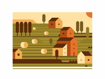 Tuscany sun sky tree village town summer print july illustration hills forest farm city august abstract landscape italy house