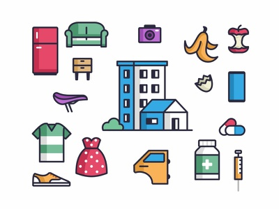 Colorful Icons style ui branding icons icon set fruits stroke outline colorful illustration design recyclable furniture car parts pills medicine biohazard clothes building