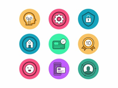 Eleyo Small Icons symbol iconography mobile smart house smile user settings security badge card payment icon set website ui ux logo ios illustration icon branding