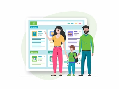 Online Registration web ui ux system school parents responsive mobile location landing page kids iphone interface education design cute characters browser app