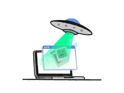 Errror 404 update abstract art laptop homepage network technology ufo space missing lost page illustration web ui ux spaceship files error c4d browser alien 404
