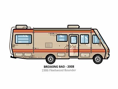 1986 Fleetwood Bounder el camino heisenberg outline movie meth illustration iconic crystal future breaking bad film dots design classic car camper blood dan kuhlken automobile