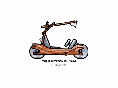 Flintmobile outline movie illustration iconic 90s tribute tv film yabadabadoo dots design cartoons classic car flintstones automobile