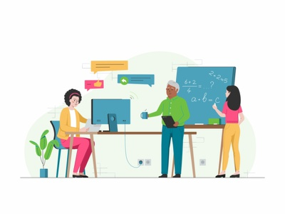 Teachers Collaborate education parents school user technology team sketch peoples design data coworking collaboration chat app 2d