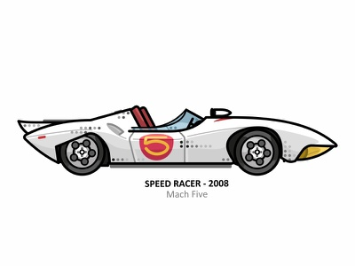 Mach Five speed outline movie illustration iconic film dots design automobile auto young driver speed racer racer