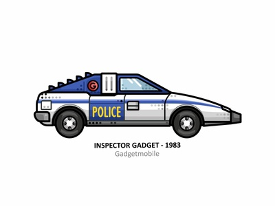 Gadgetmobile police 90s inspector cartoons gadgetmobile driver speed racer outline movie illustration iconic film dots design automobile auto