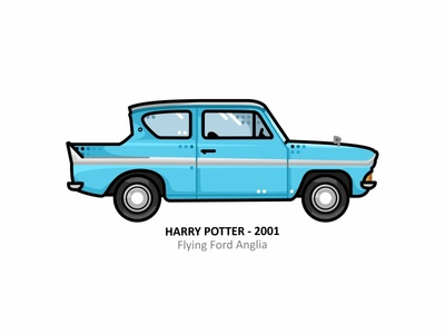 Flying Ford Anglia hero magic retro flying ford anglia hogwarts outline movie illustration iconic film dots design cartoons automobile auto 90s