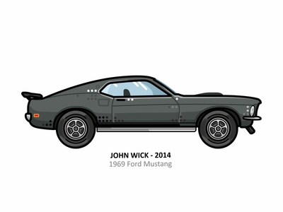 John Wick car model 69 mustang mustang retro outline movie illustration iconic film dots design automobile auto cyberpunk hollywood art fan assassin keanu reeves john wick