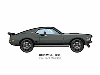 John Wick car model 69 mustang mustang retro outline movie illustration iconic film dots design automobile auto cyberpunk hollywood art fan assassin keanu reeves john wick