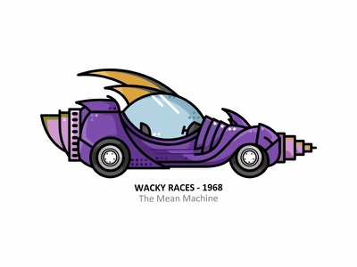 The Mean Machine muttley toonboom dick dastardly retro outline 2d illustration iconic hollywood film fan dots design cartoon automobile auto art the mean machine
