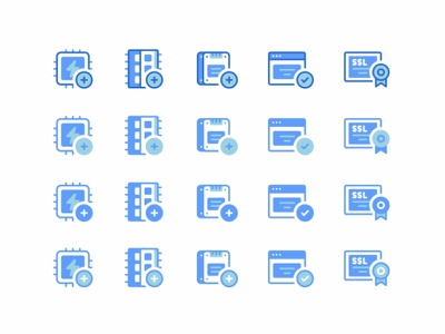 Shopware Icon set icons power ssl ram web vps virtual support ssd servers icon set security networking message line design connection cloud chat block storage