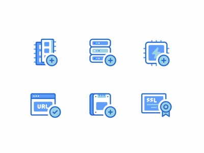 Shopware Icons web vps virtual support ssl ssd servers security ram power networking message line icon set icons design connection cloud chat block storage