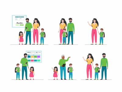 Eleyo Characters children kids parents education web ui ux typography peoples minimalism interface illustration editorial collaboration design character brand animation