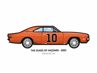 General Lee american tv series 80s dukesofhazard retro outline mustang movie model illustration iconic hollywood film fan dots design automobile auto art