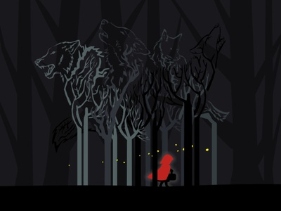 Dark Forest little riding hood illustration alone ghosts monsters scary glow silent dark swamp halloween woods wolf three spooky landscape forest creepy