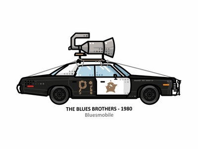Bluesmobile tv series retro outline hollywood dots design automobile auto american 80s cop police car movie dodge monaco cars illustration car bluesmobile blues brothers