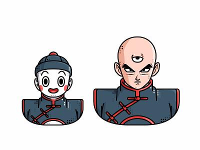 Tien   Chiaotzu manga character design piccolo chiaotzu tien vegeta vector master roshi line illustration goku friends dragonball character avatar animation 2d