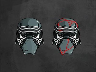 Kylo Ren stormtrooper star wars space sith outline lightsaber kylo ren jedi imperial illustration helmet graphic design deathtrooper darth vader character boba fett