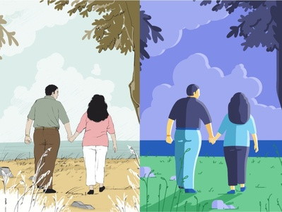 Walking walking see view style exploration style colours illustration design sketch flat draw couple hold hands memories old time nature walk characters peoples love old
