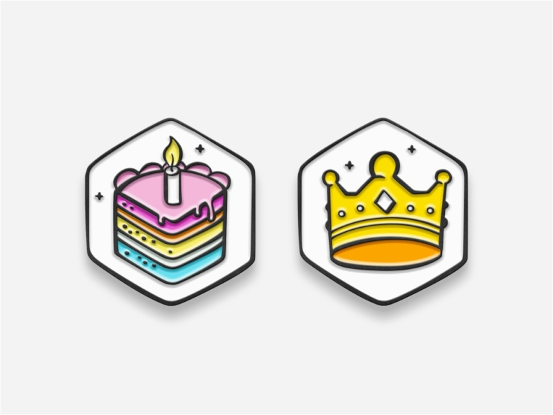 Cake and crown pins