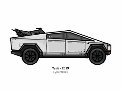 Tesla Cybertruck future elonmusk scifi steel electric elon musk vehicle vector motorsport outline line truck illustrator icon dots design car tesla ai