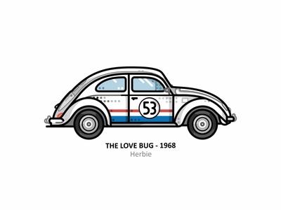 Herbie vehicle vector the love bug retro steel 60s outline motorsport line illustrator icon sports car race speed dots design car volkswagen