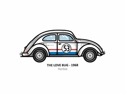 Herbie vehicle vector the love bug retro steel 60s outline motorsport line illustrator icon sports car race speed dots design car volkswagen