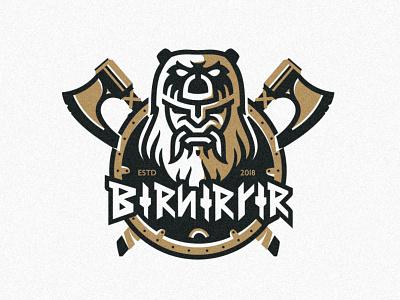 Berserker Logo outline illustration brush texture warrior mascot berserker personal identity monogram symbol design font axe shield mark logo strong