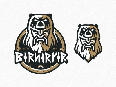 Berserker illustration animation warrior texture symbol strong shield personal monogram mascot mark logo identity font design brush berserker axe